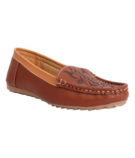 brown leather flat shoes trilokani brown synthetic leather flat casual shoes price