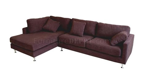 modern burgundy fabric sectional sofa with metal legs