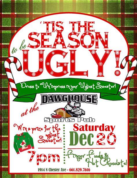 christmas invitation bar flyer ugly sweater dashing