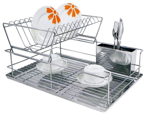 Modern Dish Rack Stainless Steel by Chrome Stainless Steel Two Tier Dish Rack