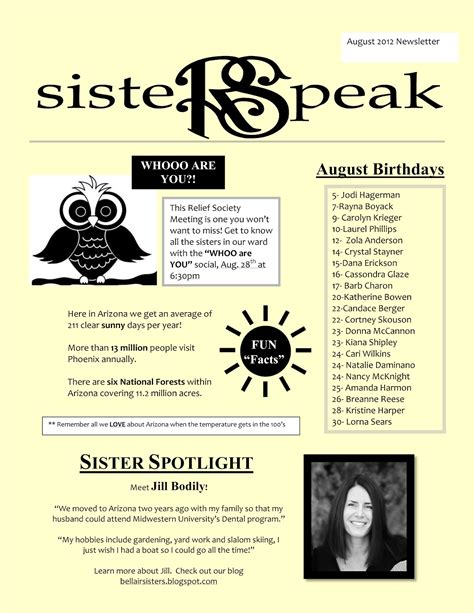 Bellair Relief Society Sisters August Newsletter Is Here Relief Society Newsletter Template Free