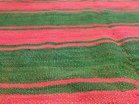 moroccan vintage flat weave rug pink and green for sale at