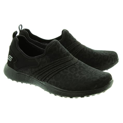 skechers black sneakers skechers 23322 slip on shoes in black in black
