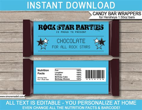 rockstar birthday hershey bar wrappers rock