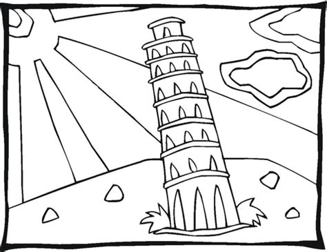 tower in pisa coloring page free printable coloring pages