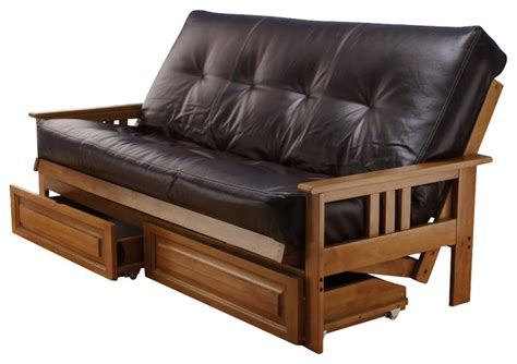 wooden frame futon sofa bed andover size futon sofa bed and drawer set honey oak