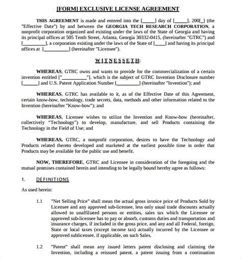 7 Sle Exclusivity Agreement Templates Sle Templates Exclusivity Contract Template