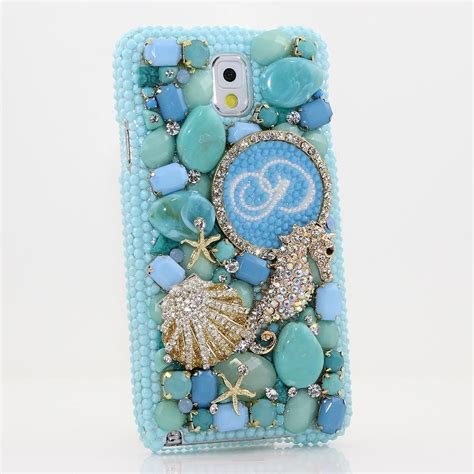 bling cases personalized monogram  custom  crystals  diamond seahorse case  iphone