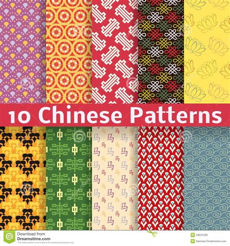 chinese pattern fabric vector different chinese vector seamless patterns royalty free