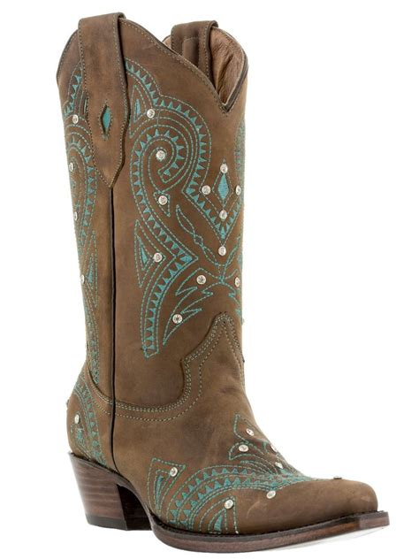 womens brown vintage western leather cowboy boots