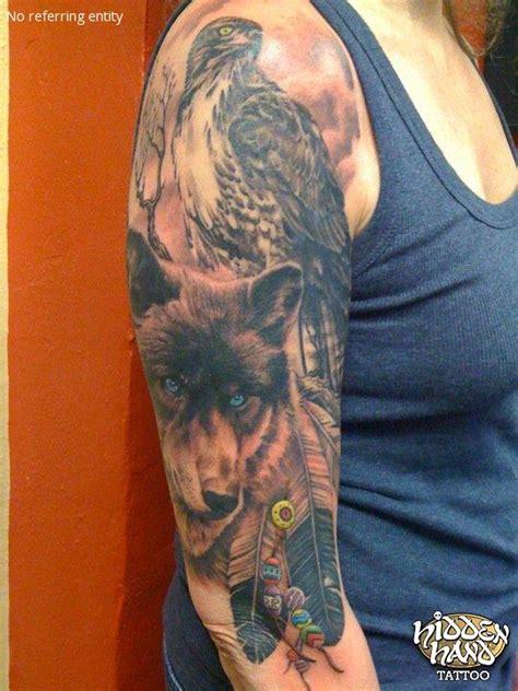 eagle tattoo arm sleeve wolf and eagle 3 4 sleeve hidden hand tattoo seattle wa
