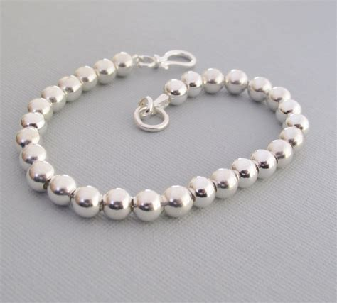 beaded bracelets sterling silver beaded bracelet 6mm beaded bracelet classic