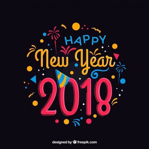 colorful happy new year 2018 colorful lettering happy new year 2018 vector free