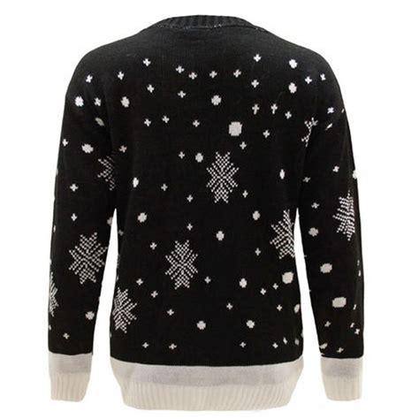 mens black patterned jumper c3008 bk men christmas jumper with elf pattern black