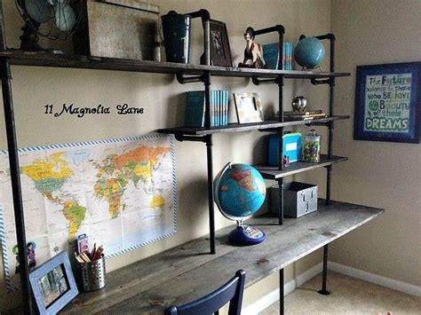 desk for boy diy industrial shelving desk in a boy s room