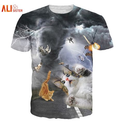 alisister new fashion cat t shirt print animal 3d t shirt casual mens t