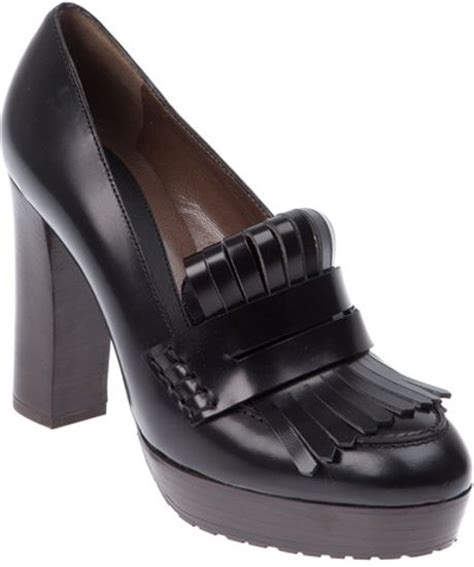 high heeled loafers black marni high heeled loafer in black lyst