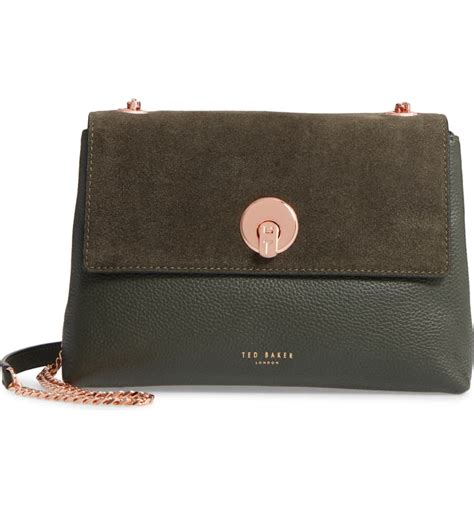 ted baker london sorikai leather suede crossbody bag