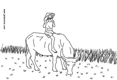 flutist on a cow in vietnam coloring pages hellokids com