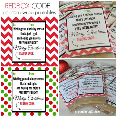 gift card wrapper template redbox code popcorn wrappers u create