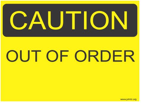 Sign Out Bathroom Template Just B Cause Out Of Order Sign Template