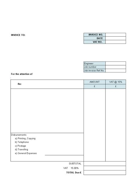 blank invoice template  excel excel template