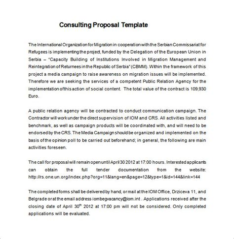 consulting proposal templates 10 free word excel pdf
