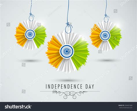 15 August Independence Day Decoration by Beautiful Hanging Decorative Indian National Flag Stock
