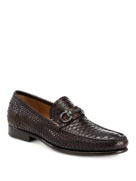 ferragamo loafers ferragamo rafaele python slip on loafers in brown for