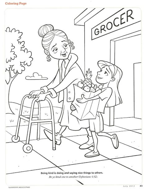 coloring page on kindness happy clean living primary 2 lesson 28