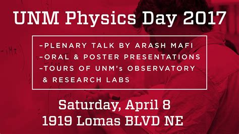 Unm Mba Management Of Technology by Physics Astronomy Hosts Unm Physics Day 2017 Unm Newsroom