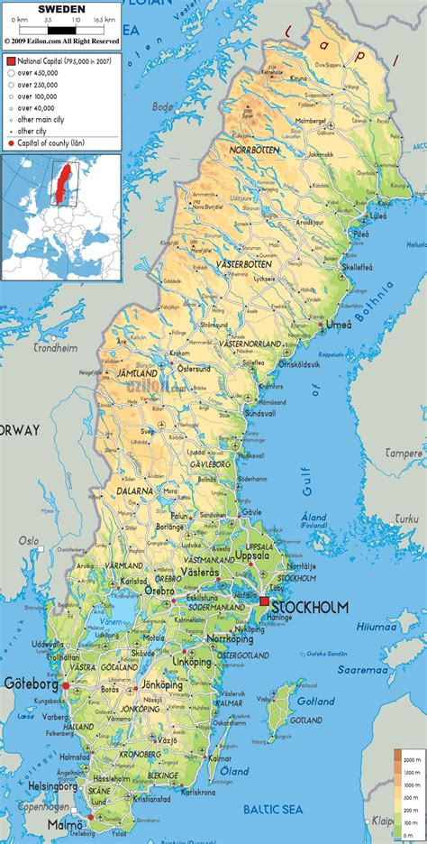 physical map  sweden ezilon maps