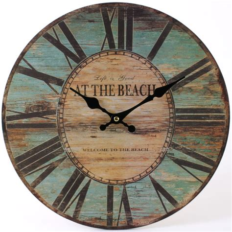 large rustic beach turquoise wooden wall clock