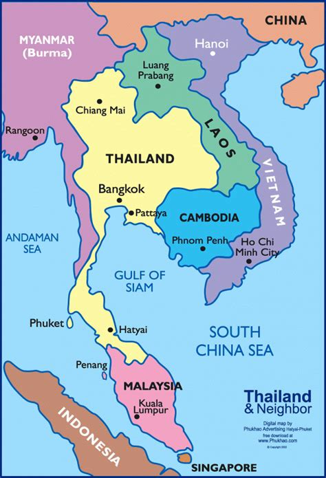 map of southeast asia with countries facts about thailand
