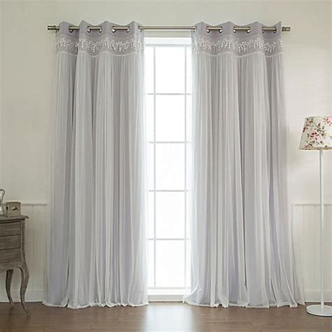 Lilac Blackout Curtains Buy Decorinnovation Sheer Overlay 96 Inch Grommet Top Blackout Window Curtain Panel Pair In