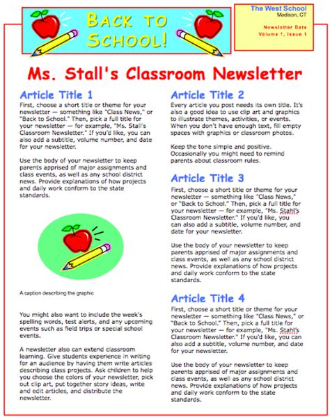 elementary school newsletter template free school newsletter template free iwork templates