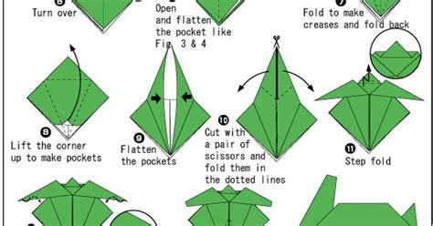 Origami Turtle Diagram - steps on how to fold a turtle origami for