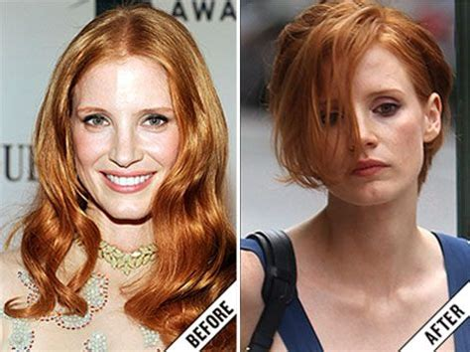 when dis jessica robertson cut her hair jessica chastain hair cut new short haircut stylefrizz