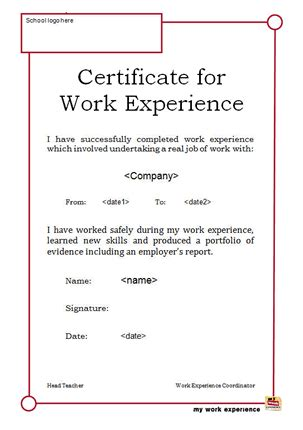 certification letter for working student special needs my work experience