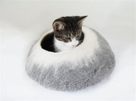 cat cave bed cat bed cat cave cat house natural grey and white by