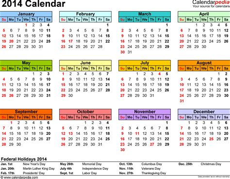 2014 Calendar With Holidays 2014 Calendar 2018 Calendar With Holidays