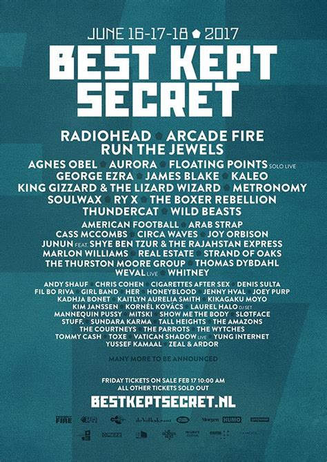 best kept secret festival netherlands line up 2017 festivals