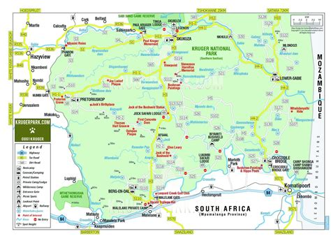 kruger national park map maps safari