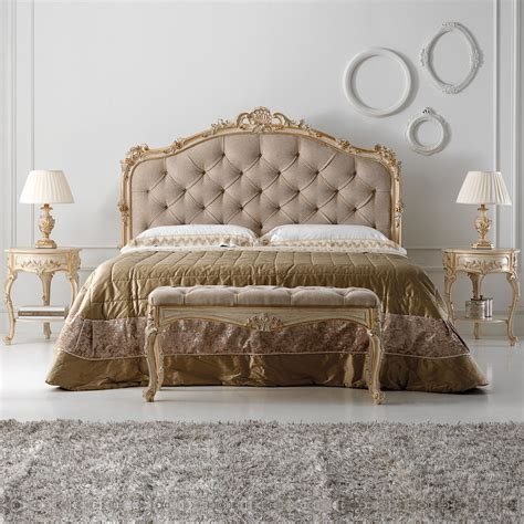 rococo bed carved reproduction rococo italian button upholstered bed