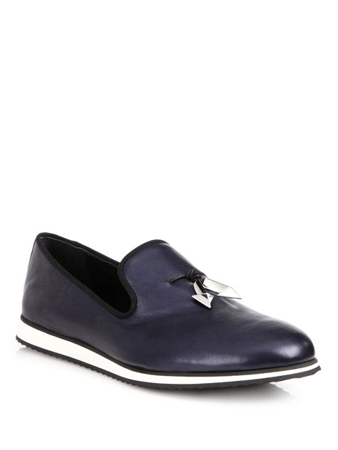 giuseppe zanotti loafers giuseppe zanotti front tassel leather loafers in blue lyst