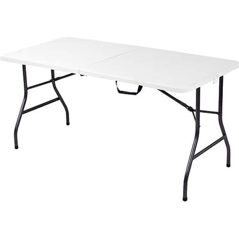 5 Ft Folding Table Mainstays 5 Foot Center Fold Table White Walmart