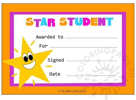 printable star of the day certificates star student certificate coloring page