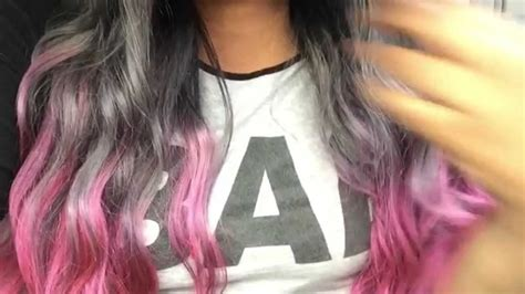 Vc84912 Black Pink Blue Gray how i did my grey pink ombre hair easy