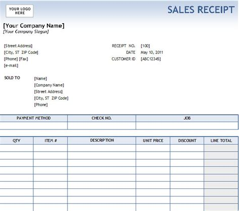 Sales Receipt Template Excel Free by Excel Sales Receipt Excel Receipt Template