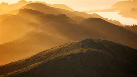 nature landscapes mountains fog mist sunset sunrise